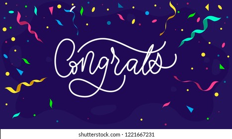 Congratulations design template with confetti and lettering, Vector illustration