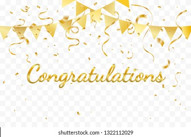 Congratulations With Golden Confetti And Ribbon On Transparent Background. Vector Illustration