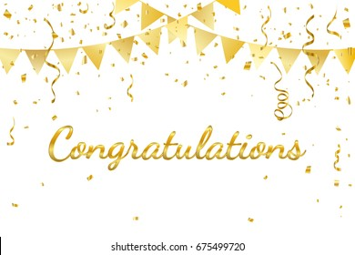 Congratulations With Golden Confetti And Ribbon. Vector Illustration