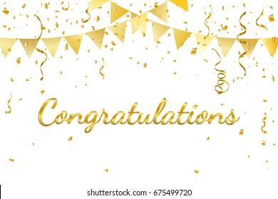 Congratulations With Golden Confetti And Ribbon. Vector Illustration