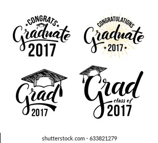 Congratulations graduate 2017. Set of graduation labels. Vector isolated elements for graduation design, congratulation event, party, high school or college graduate.