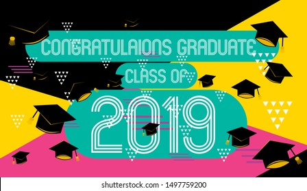 congratulations graduate class of 2019, colorful banner with square frame, photo booth props and masks on colorful background. Vector illustration.