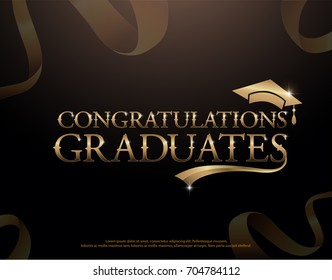 Congratulations Graduate logotype template with golden ribbons on black background. congratulations graduate calligraphy lettering design for logo, banner, template, vector illustrator