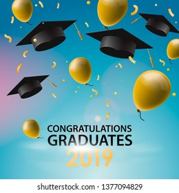 Congratulations Graduates 2019, caps, balloons and confetti on a blue sky background. Caps thrown up. Invitation card with diplomas, vector illustration.