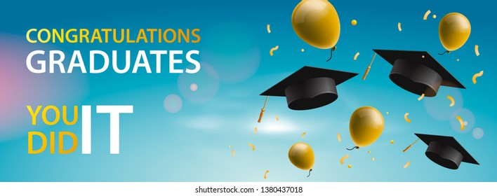Congratulations Graduates 2019, caps, balloons and confetti on a blue sky background. Caps thrown up. Celebration background, vector illustration.