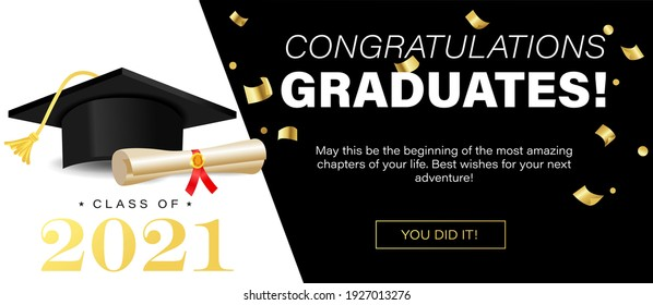 Congratulations graduates banner concept. Class of 2021. Graduation design template for websites, social media, blogs, greeting cards or party invitations.University or High school graduation congrats