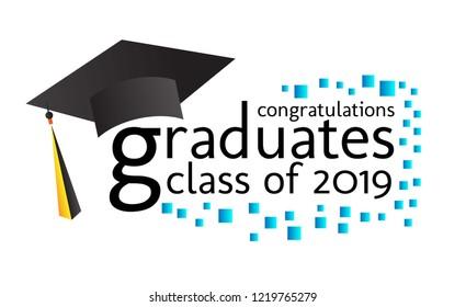 congratulations graduates class 2019 text vector stock vector