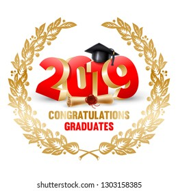 Congratulations graduates class of 2019. Vector illustration.