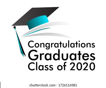 congratulations graduates class of 2020 banner design, graphics elements for t-shirts, and the idea for the sign, badge or greeting card and background photo booth