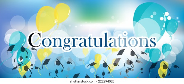 Congratulations graduation background with sparkles and stars, balloons and mortar board hats.