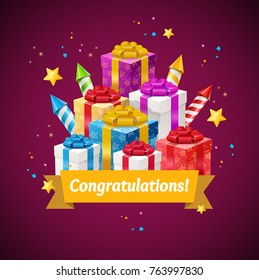 Congratulations Greeting Card Celebration Of Holidays Concept with Rocket Fireworks, Present Box and Ribbon with Text. Vector illustration