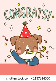 Congratulations greeting card. Cute cartoon jack russell terrier dog cerebrating with text Congrats. Greeting card, postcard, poster. Flat design. Colored vector illustration.