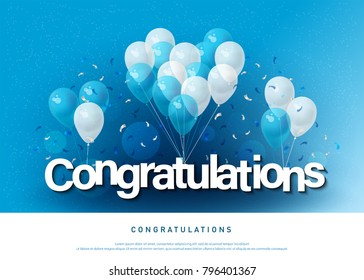 congratulations greeting card lettering template with balloon and confetti. Design for invitation card, banner, web, header and flyer. vector illustrator