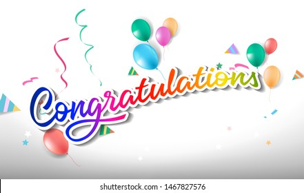 congratulations greeting colorful with balloon and confetti. lettering text colorful banner with Fun style  - Vector