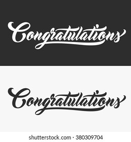 CONGRATULATIONS Hand lettering. Handmade vector calligraphy