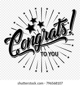 Congratulations. Hand lettering illustration. Calligraphic greeting inscription. Vector handwritten typography.