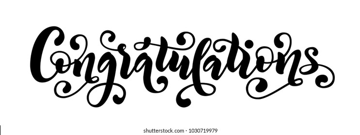 congratulations hand lettering quote hand drawn modern brush calligraphy congrats word vector text illustration