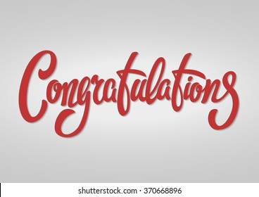 Congratulations hand lettering text