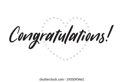 Congratulations hand written lettering calligraphic text. Congrats greeting message.