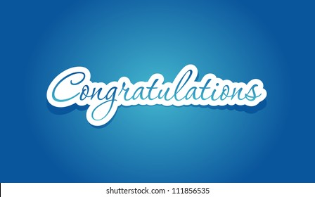Congratulations lettering on blue background. Vector illustration.