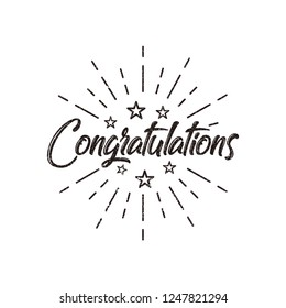 Congratulations lettering vector illustration for greeting, card, banner or other us