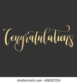 'Congratulations' - modern lettering quote. Vector hand written gold ink calligraphy phrase isolated on a black background