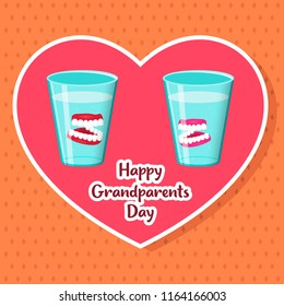 Congratulations on the day of National Grandparents Day. Insertion jaws in glasses. Vector illustration.