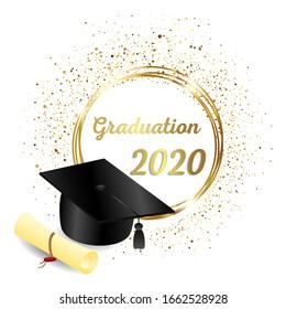 congratulations on graduation, realistic graduation hat, greeting banner, postcard, concept, graduation 2020, golden glitter, vector