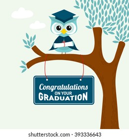 Congratulations on your graduation greeting card /Owl and tree illustration