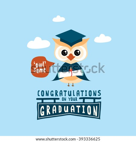 congratulations on your graduation greeting card with owl illustration vector illustrations