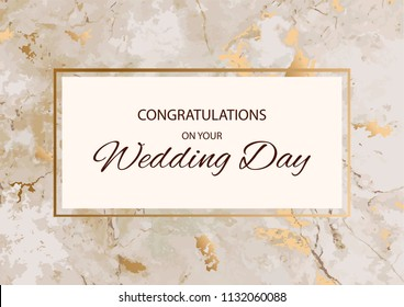 Congratulations on your wedding day with marble stone texture with gold frame. Vector illustration design.