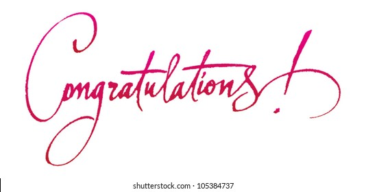 congratulations original handwritten calligraphy for your logo poster ad or website