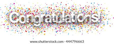 congratulations paper poster color drops vector vector de stock