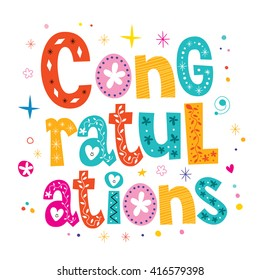 Congratulations typography lettering decorative type greeting card design