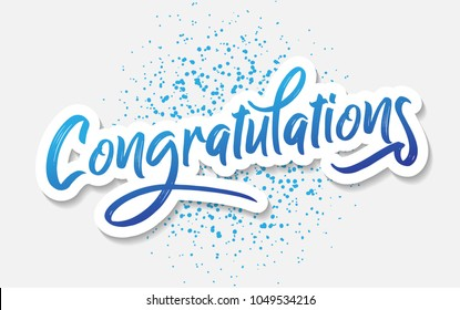 Congratulations Typography Lettering Handwritten Vector For Greeting