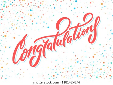 Congratulations. Vector lettering. Greeting card.
