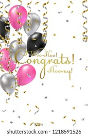 Congratulations woman vector illustration. Happy Birthdaygirl! You are invited to a party! Balloons, streamers, confetti, gold and silver. Congrats on the holiday
