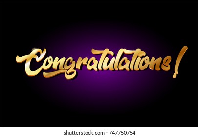 congratulations word text logo in gold golden 3d metal beautiful typography suitable for banner brochure design