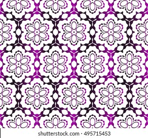 congratulatory background with abstract flowers. seamless texture. vector. purple gradient color. for interior design, printing, textile industry