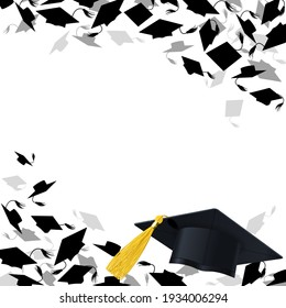 congratulatory background with graduate caps on a white background