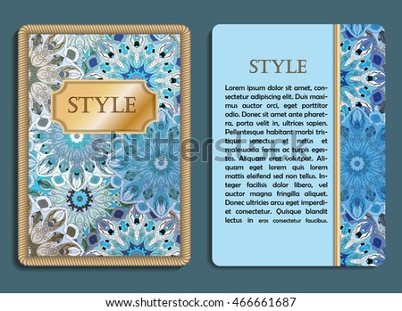 congratulatory card and invitation card with mandala design in vintage oriental style flyer with abstract