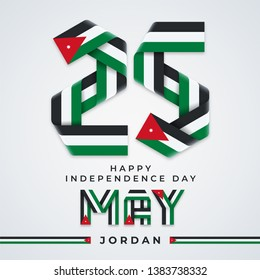 Congratulatory design for 25 May, Jordan Independence Day. Text made of bended ribbons with Jordan flag colors. Vector illustration.