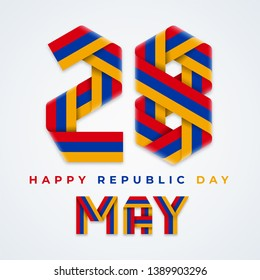 Congratulatory design for 28 May, Armenia Republic Day. Text made of bended ribbons with Armenian flag colors. Vector illustration.