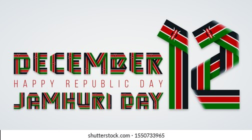 Congratulatory design for December 12, National holiday of Kenya. Text made of bended ribbons with Kenyan flag elements. Swahili inscription: Republic day. Vector illustration.