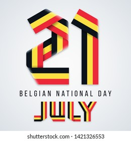 Congratulatory design for July 21, Belgium National Day. Text made of bended ribbons with Belgian flag colors. Vector illustration.