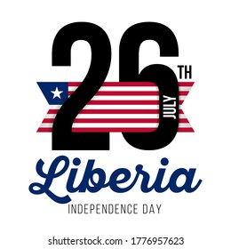 Congratulatory design for July 26, Liberia Independence Day and text with the colors of the flag of Liberia. Vector illustration