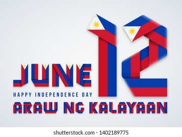 Congratulatory design for June 12, Philippines Independence Day. Text made of bended ribbons with Philippine flag colors. Translation Philippine inscription: Independence Day. Vector illustration.