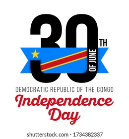 Congratulatory design for June 30, Democratic Republic of the Congo Independence Day. Text  with Congo flag colors. Vector illustration.