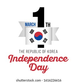 Congratulatory design for March 1, the day of the declaration of the Independence of Korea and the text with the colors of the flag of the Republic of Korea. Vector illustration