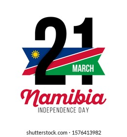Congratulatory design for March 21, the National Day of Namibia and the text with the colors of the flag of Namibia. Vector illustration